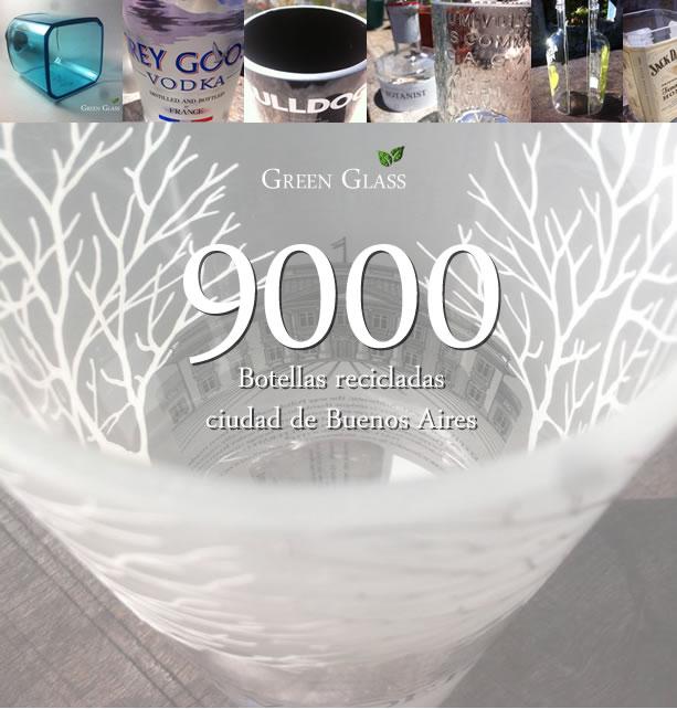 9000 botellas recicladas Green Glass