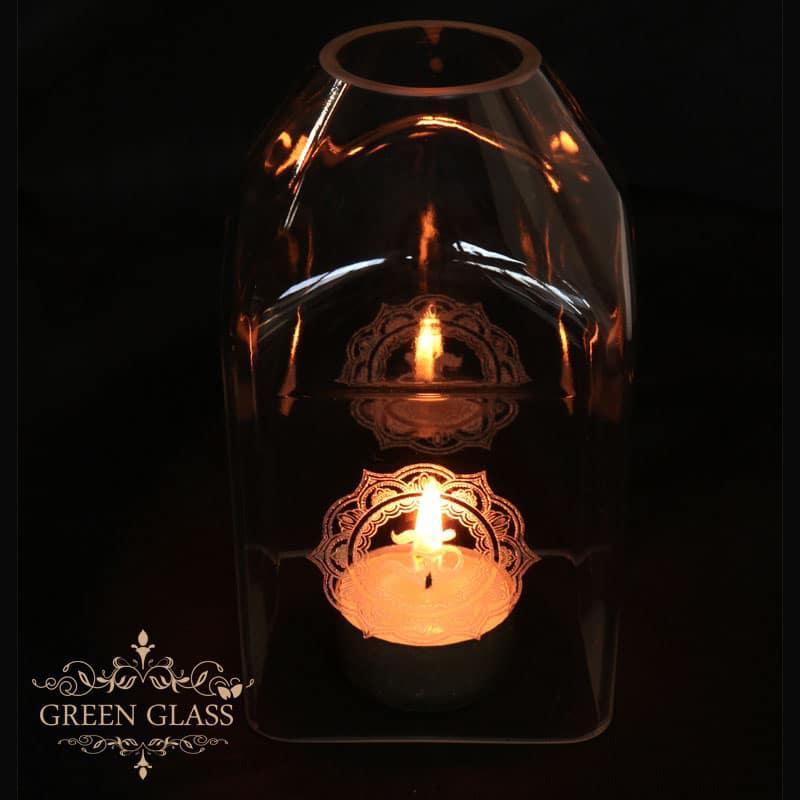 fanal mandala con botella de vidrio